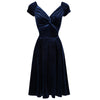 Navy Blue Velour Crossover Vintage Midi Party Dress