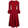 Wine Red 3/4 Puff Sleeve Vintage 50s Swing Dress - Pretty Kitty Fashion