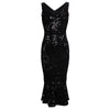 Black Sequin Sleeveless Peplum Hem Bodycon Wiggle Party Dress