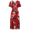 Red Wine Floral Print Cap Sleeve V Neck Wrap Top Swing Dress - Pretty Kitty Fashion