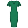 Emerald Green Half Sleeve Deep V Neck Crossover Top Wiggle Dress - Pretty Kitty Fashion