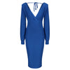 Royal Blue V Neck Long Sleeve Slinky Bodycon Midi Dress - Pretty Kitty Fashion