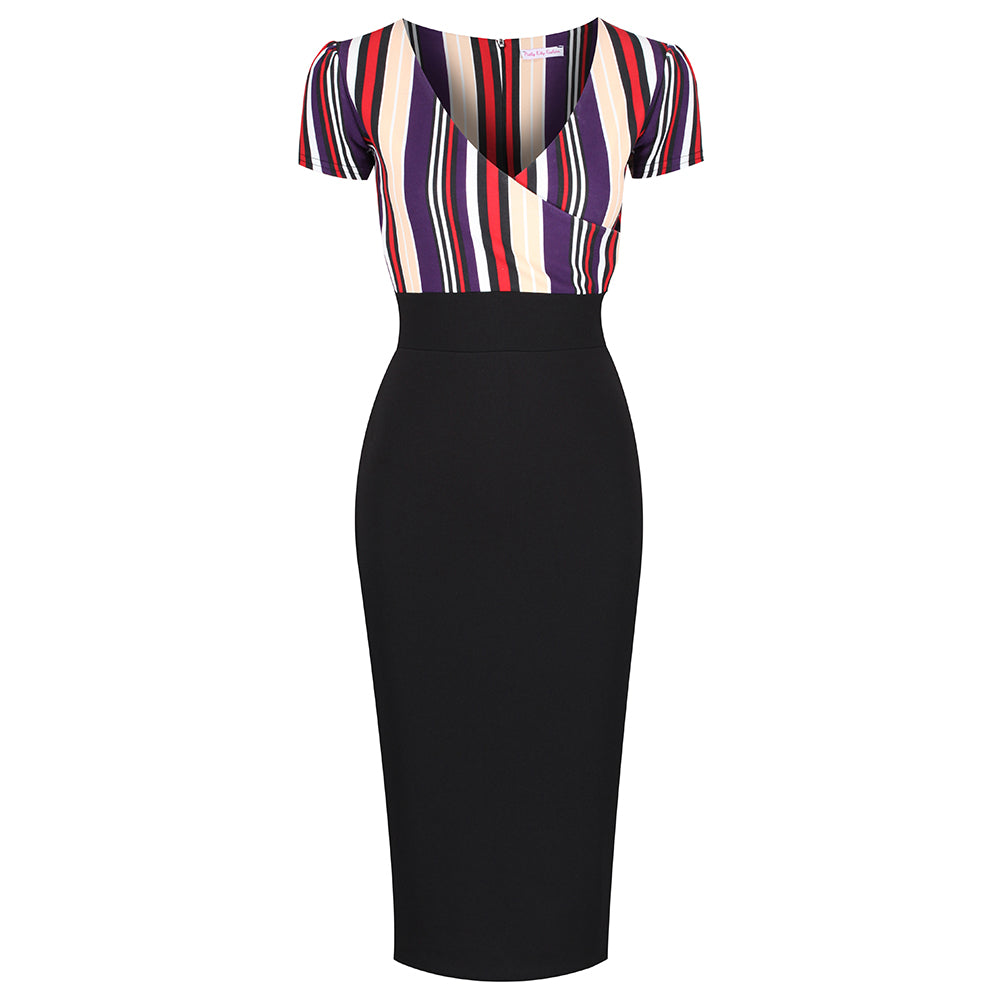 053331d7ad Black and Multicoloured Striped Crossover Top Cap Sleeve Pencil Dress -  Pretty Kitty Fashion