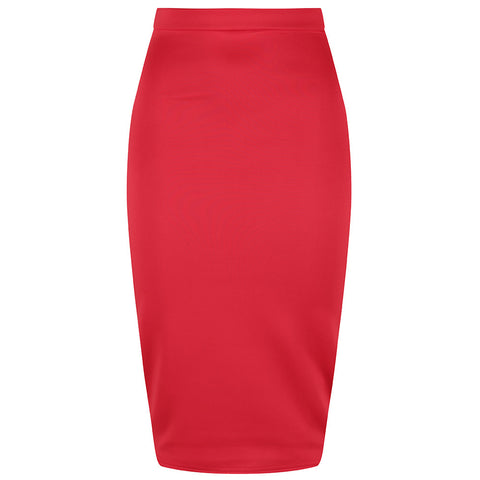 Classic Stretch Red Pencil Bodycon Midi Skirt