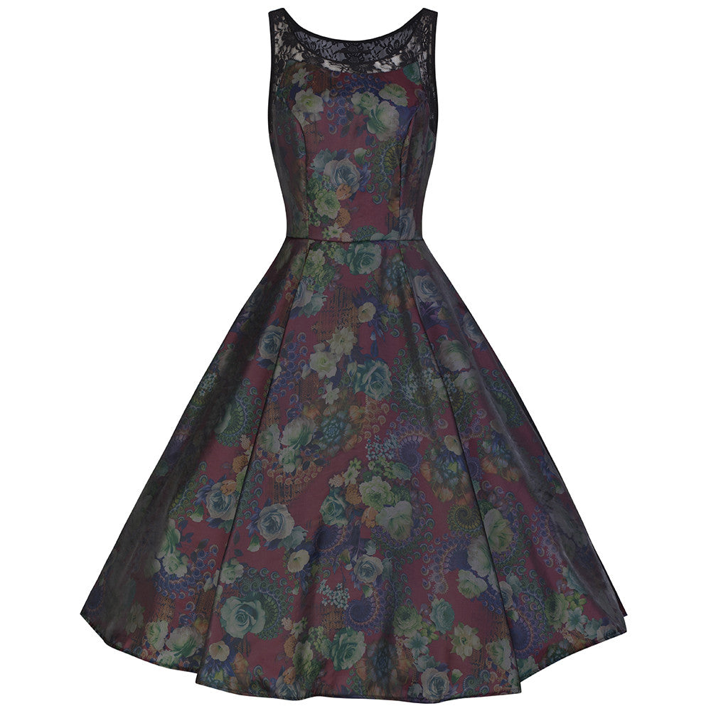 b59084906d2 Deep Burgundy Red and Floral Paisley Satin Feel Vintage Swing Dress -  Pretty Kitty Fashion