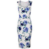 Vintage White and Blue Floral Print Bodycon Pencil Dress - Pretty Kitty Fashion