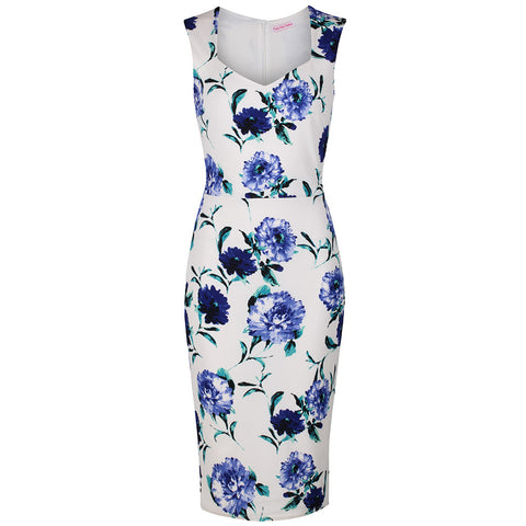Vintage White and Blue Floral Print Bodycon Pencil Dress