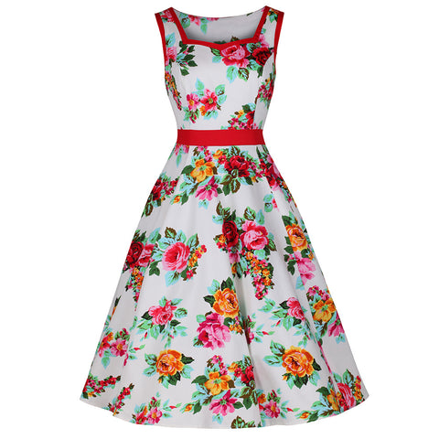 White Red Pink Rose Floral Vintage 50s Swing Dress