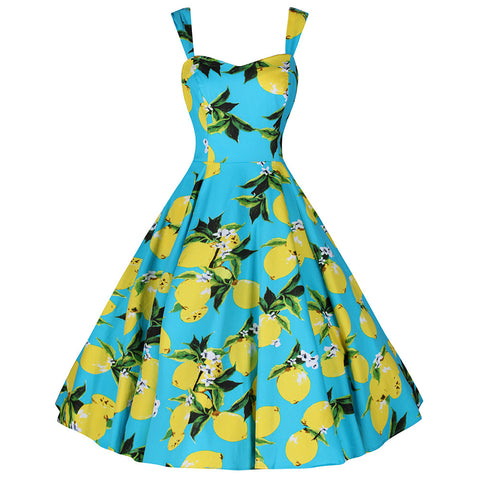 Turquoise Blue and Lemon Print Rockabilly 50s Swing Dress