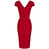 Red Capped Sleeve Bodycon Wiggle Dress - Pretty Kitty Fashion