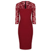 Wine Red Vintage Lace Detail Bodycon Midi Dress