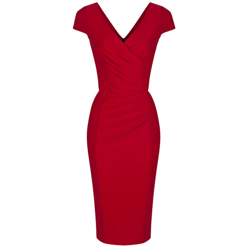 Red Capped Sleeve Bodycon Wiggle Dress