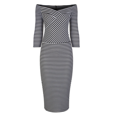 Black and White Stripe 3/4 Sleeve Pencil Dress