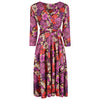 Purple And Red Floral 3/4 Sleeve V Neck Crossover Top Empire Waist Tea Dress