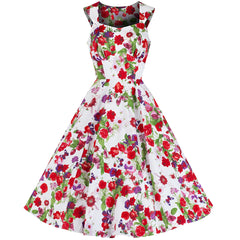 White Red Floral Butterfly Rockabilly Swing Dress