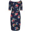 Navy Blue Floral 1/2 Sleeve Floral Wiggle Pencil Dress - Pretty Kitty Fashion