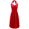 Red Velour Halterneck Empire Waist 50s Swing Dress
