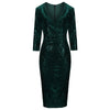 Dark Green 3/4 Sleeve V Neck Velour Sequin Pencil Wiggle Dress