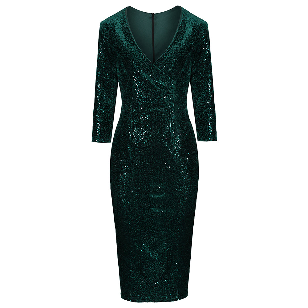 13221de2525e Emerald Green Velour 3/4 Sleeve V Neck Sequin Wiggle Dress