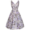 Taupe Lilac Floral Print Sleeveless Rockabilly Pin Up 50s Swing Dress