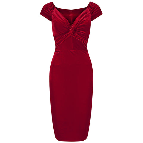 Red Velour Crossover Wiggle Dress