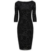 Black Flock 3/4 Sleeve Print Bodycon Devore Pencil Wiggle Dress