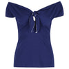 Navy Blue Tie Front Vintage Bardot Top - Pretty Kitty Fashion