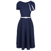 Navy Blue White Tie Short Sleeve Vintage Swing Dress
