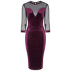 Claret Red Velour Mesh Sleeve Bodycon Dress - Pretty Kitty Fashion