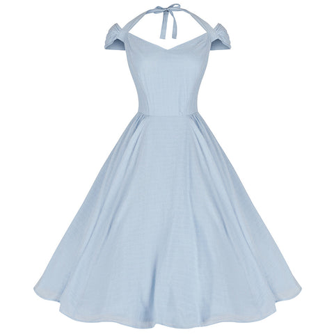 Baby Blue Halter Strap Cotton Dress