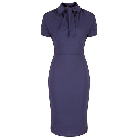 Navy Blue Puff Sleeve Tie Bodycon Pencil Dress