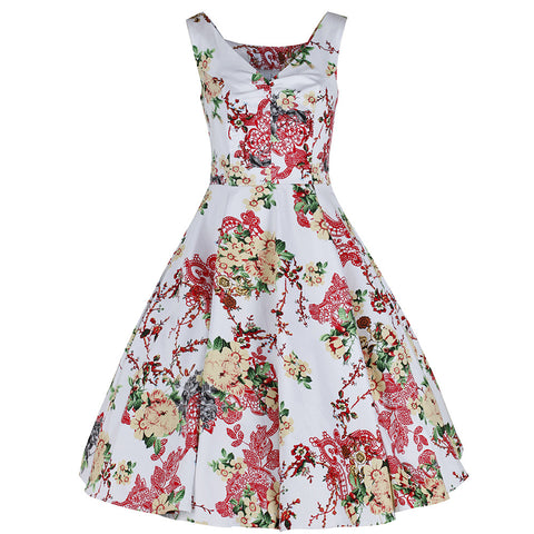 White Multi Coloured Floral Sketch Rockabilly 50s Swing Dress