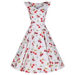 White and Red Cherry Print Rockabilly 50s Swing Dress