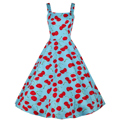 Sky Blue and Red Cherry Print Pinup Rockabilly 50s Swing Dress