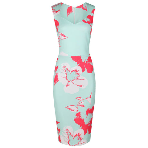 Mint Green Floral Print Bodycon Pencil Dress