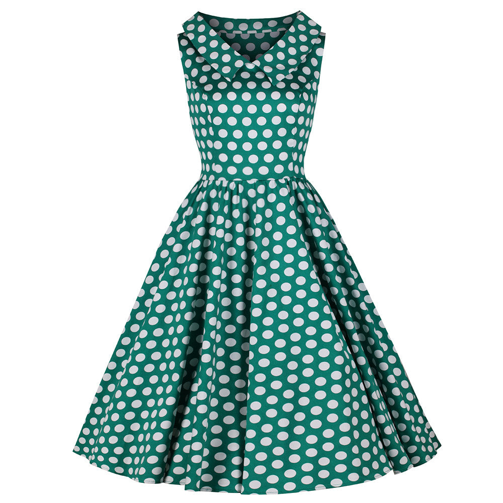 bd310c39d3 Jade Green and White Polka Dot Rockabilly 50s Swing Tea Dress - Pretty  Kitty Fashion