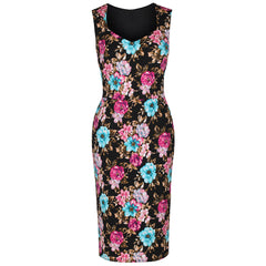 Black Multi Floral Bodycon Pencil Dress