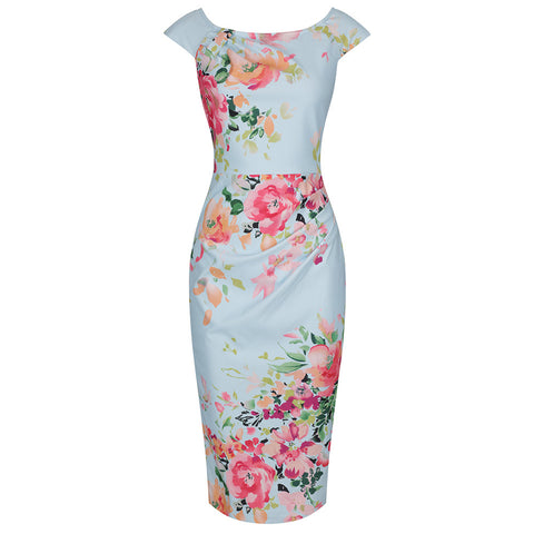 Sky Blue Floral Print Capped Sleeve Wiggle Pencil Dress