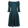 Forest Green 3/4 Sleeve Bardot Vintage Fit And Flare Midi Dress