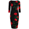 1940s Black and Red Rose Floral Print 3/4 Sleeve Bodycon Pencil Wiggle Dress - Pretty Kitty Fashion