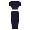 Navy And Cream Luxury Classic Nautical Pencil Dress - Pretty Kitty Fashion