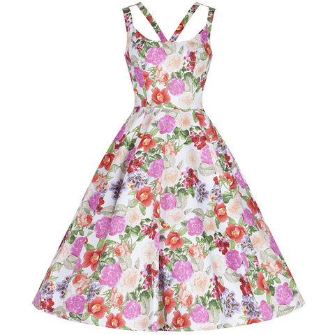 Floral Print Sleeveless Summer Rockabilly Swing Dress