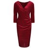 Burgundy Red and White Polka Dot 3/4 Sleeve Velvet Wrap Pencil Dress