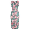 Green Floral Print Sleeveless Crossover Top Empire Waist Wiggle Dress - Pretty Kitty Fashion