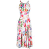 White Multi Floral Summer Print Slinky Summer Party Dress