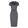 Charcoal Grey Short Sleeve Bodycon Office Work Pencil Dress