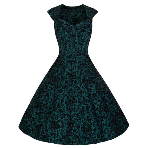 Pretty Kitty Green Black Flock Swing Dress