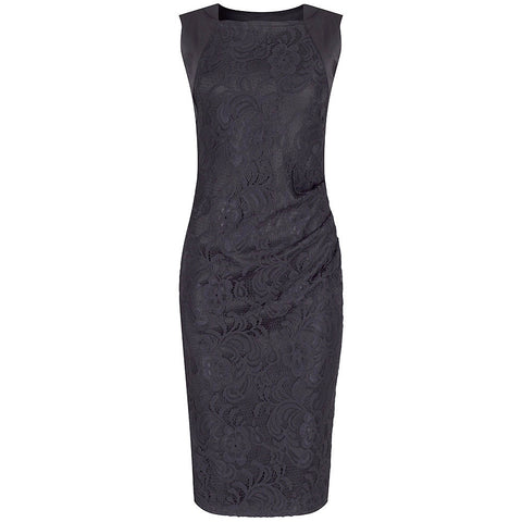 Black Panelled Lace Wiggle Pencil Dress - Pretty Kitty Fashion