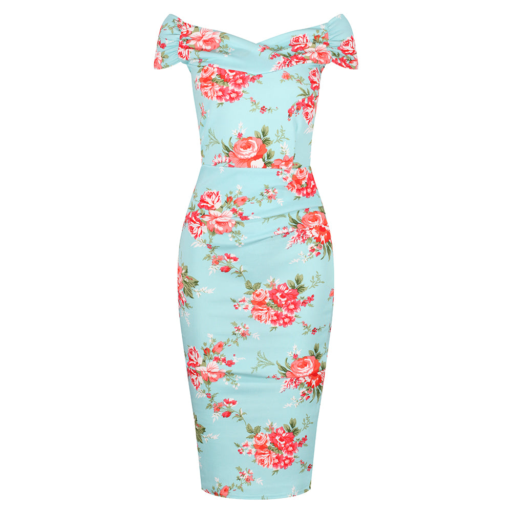 bb215b521 1940s Turquoise Floral Bardot Crossover Wiggle Dress - Pretty Kitty Fashion