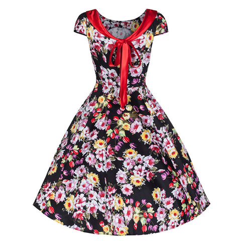 Pretty Kitty Black Multi Floral 50s Swing Dress